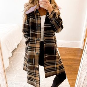 ASOS Monki Check Brown Plaid Wool Coat Size 4